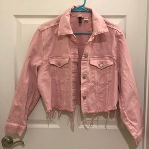 Pink H&M Cropped Denim Jacket